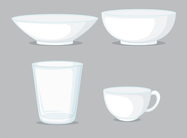 Set of bowls and cups Free Vector