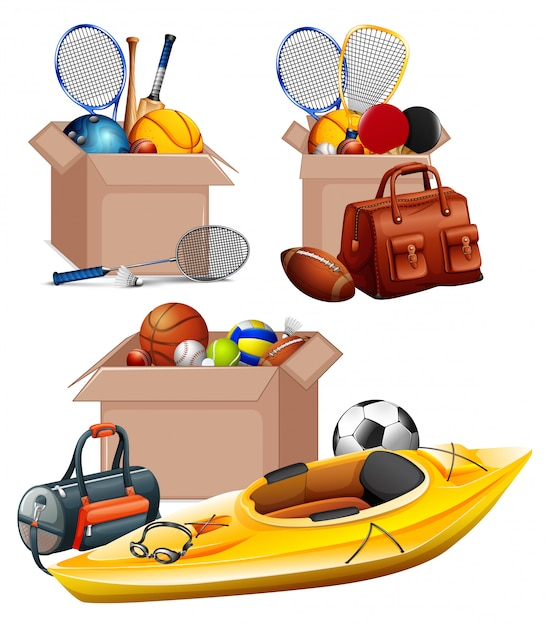 Set of boxes full of sport equipments on white Free Vector