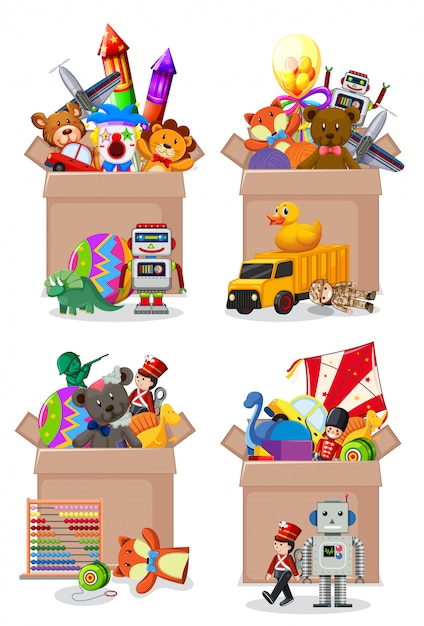 Set of boxes full of toys on white Free Vector