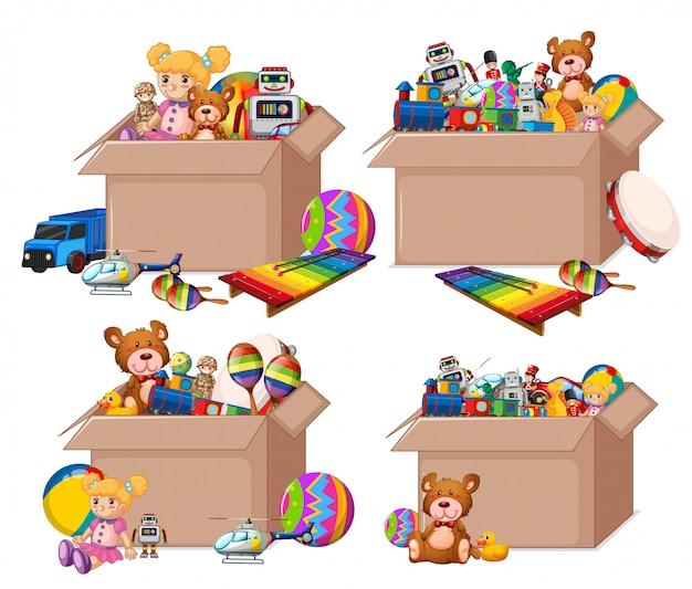 Set di scatole piene di giocattoli su bianco Vettore gratuito