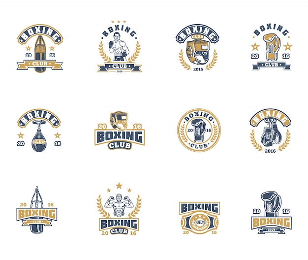 Set boxing badges, stickers isolated on white. Free Vector