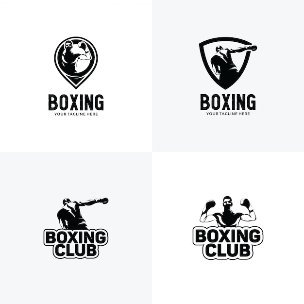 Set of boxing logo design templates Premium Vector
