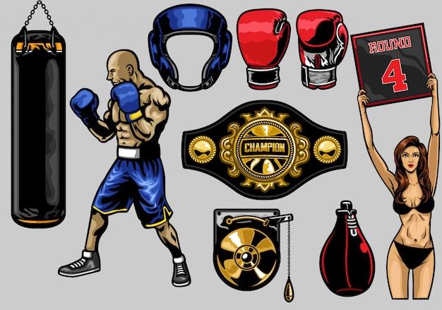 Set of boxing Premium Vector