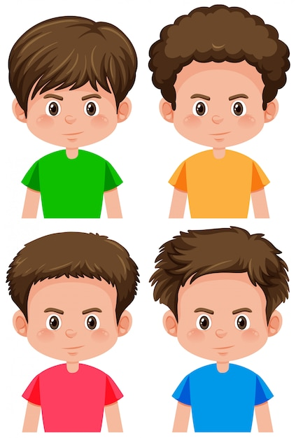 Set Of Boy Different Hairstyle Vector Free Download