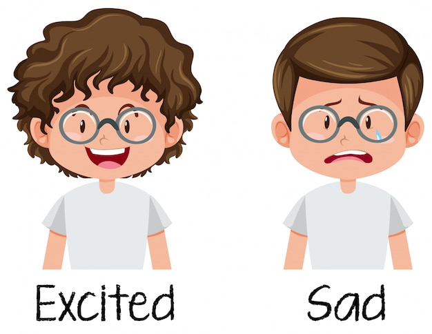 Set of boy excited and sad Free Vector