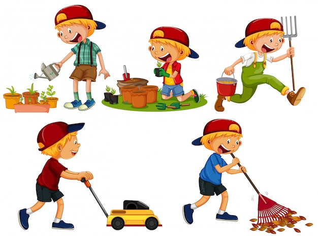 Set of boy gardening Premium Vector