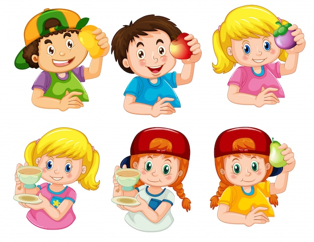 Set of boy and girl character Free Vector