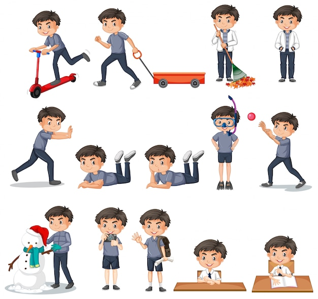 Set of boy in gray shirt doing different activities Free Vector
