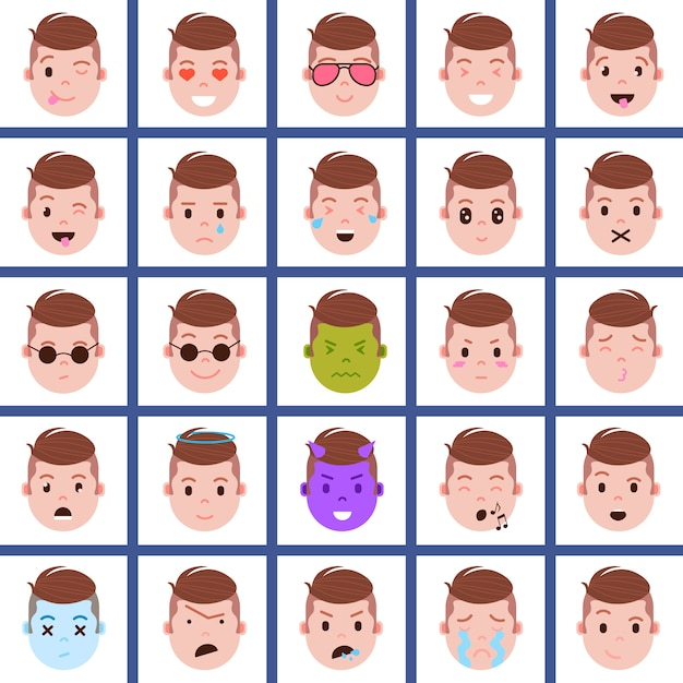 Set boy head emoji personage icon with facial emotions, avatar character, face with different male emotions concept Premium Vector