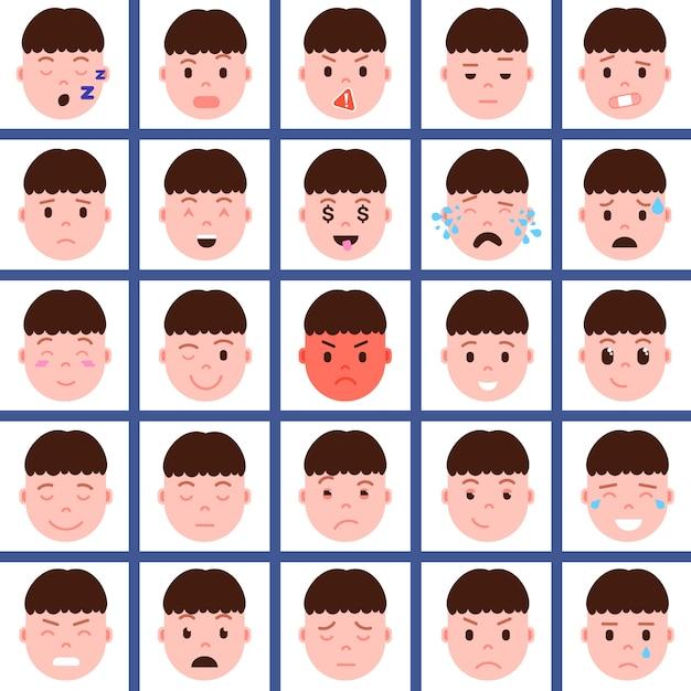 Установить мальчик головы смайликов значок персонажа с эмоциями на лице, аватар персонажа, лицо с концепцией разные мужские эмоции Premium векторы