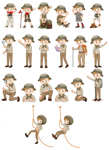 Set of boy in safari outfit doing different actions Free Vector