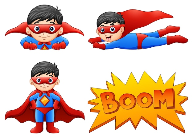 Set of boy wearing superhero costumes with different pose Premium Vector