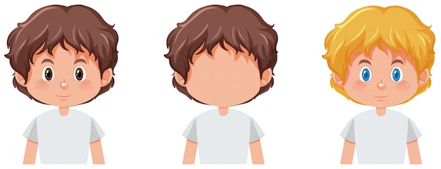 Set of boy with different hair color Free Vector