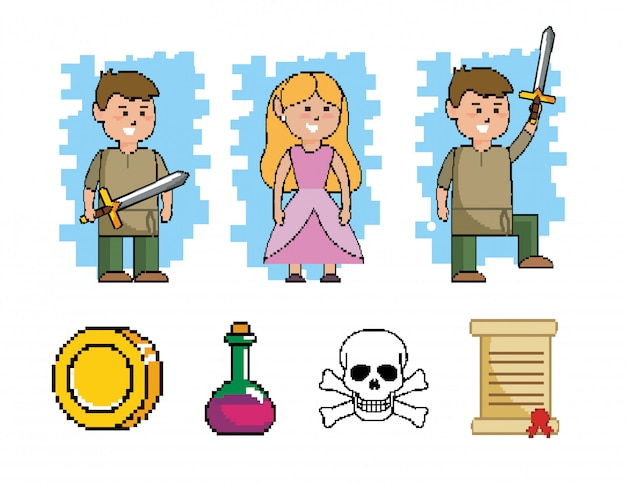 Set of boy with sword and princess with videogame Free Vector