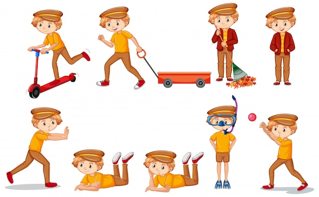 Set of boy in yellow shirt doing many activities Free Vector