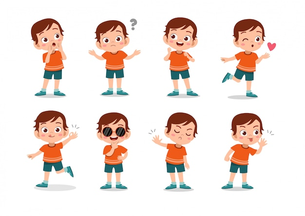 Set of boys characters Premium Vector