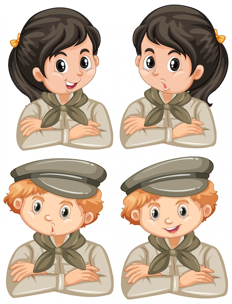 Set of boys and girls in safari outfit on white background Free Vector