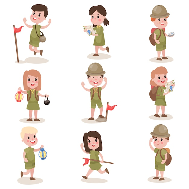 Boy and girl scout camping in nature - Download Free Vectors, Clipart  Graphics & Vector Art