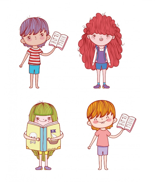 Set boys and girls with books information Premium Vector