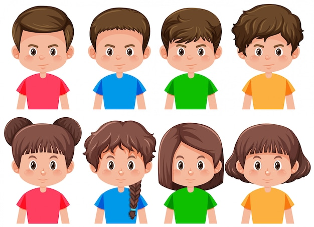 Set of boys and girls Free Vector