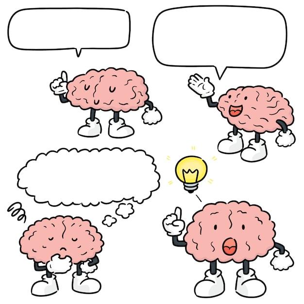 Set of brain cartoon Premium Vector