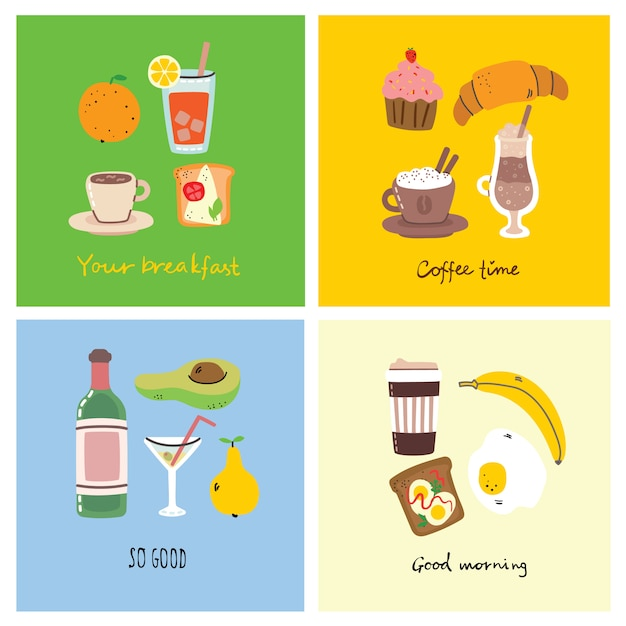 Set of breakfast food cards with hand written text, illustration. Premium Vector