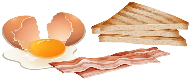 A set of breakfast on white background Free Vector