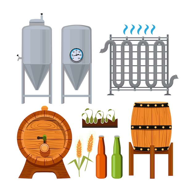 Set of brew beer production. vector alcohol beer, brewery drink illustration Premium Vector