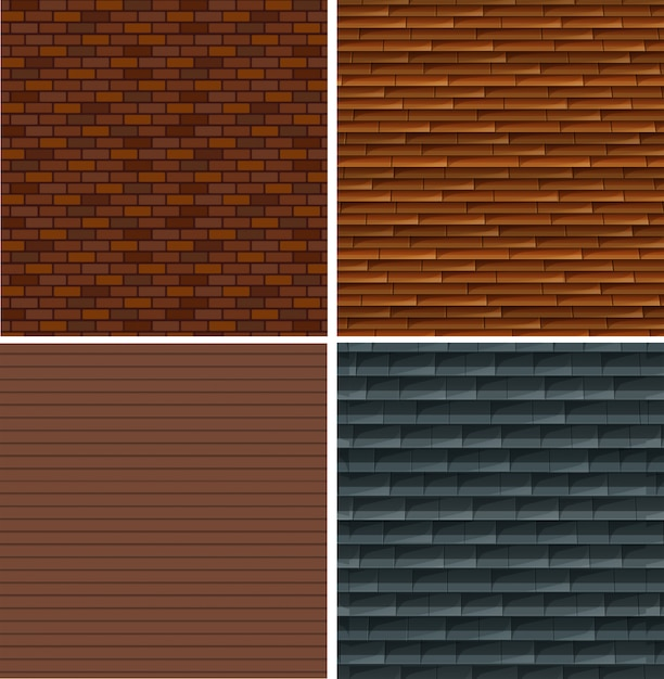 A set of brick wall background Free Vector