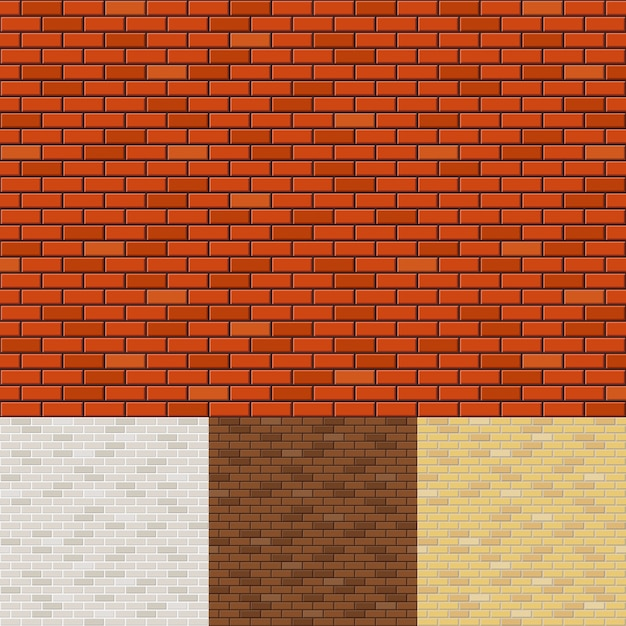 Set of brick wall backgrounds. texture surface, block rough, brickwork and stone. Free Vector