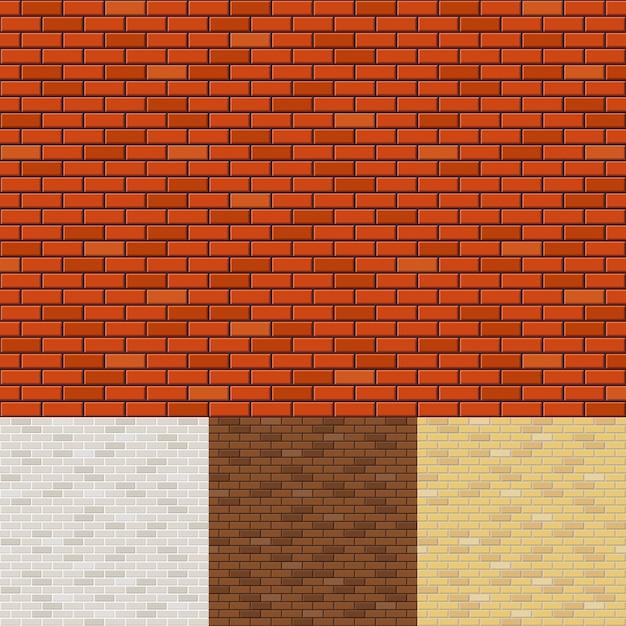 Set di sfondi di muro di mattoni. texture di superficie, blocco grezzo, muratura e pietra. Vettore gratuito