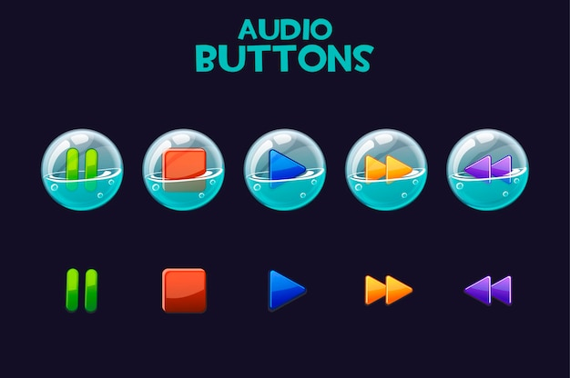 A set of bright buttons in soap bubbles for playing audio. Premium Vector