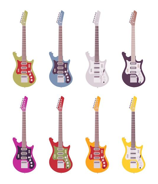 Set of bright electric guitars Premium Vector