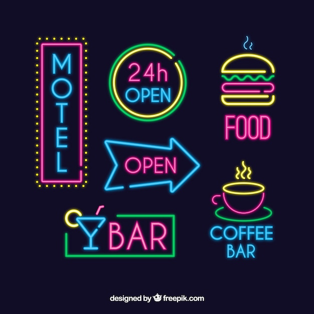 Set of bright neon signs Free Vector