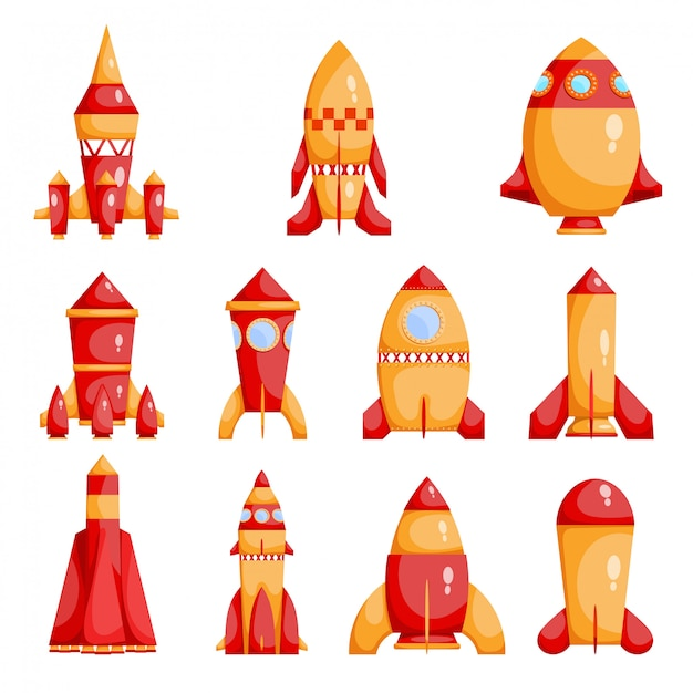 Set of bright red and yellow rockets Premium Vector