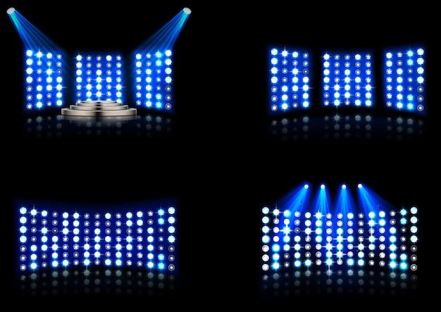 Set of bright stadium arena lighting spotlight Premium Vector