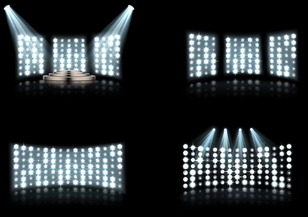 Set of bright stadium arena lighting spotlight Premium Vector
