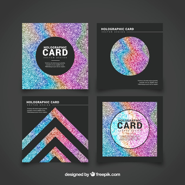 Set of brightly colored cards Free Vector