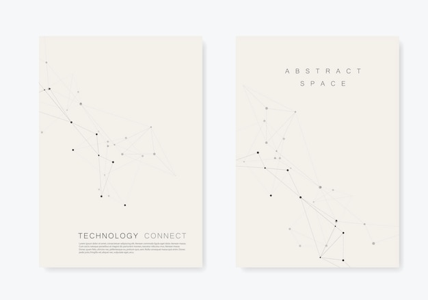 Set  brochures template with connect . abstract technology pattern, compound dots and lines background Premium Vector