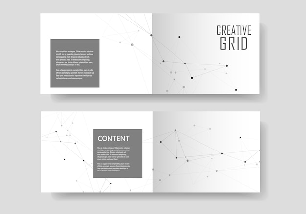 Set  brochures template with connect . abstract technology. Premium Vector