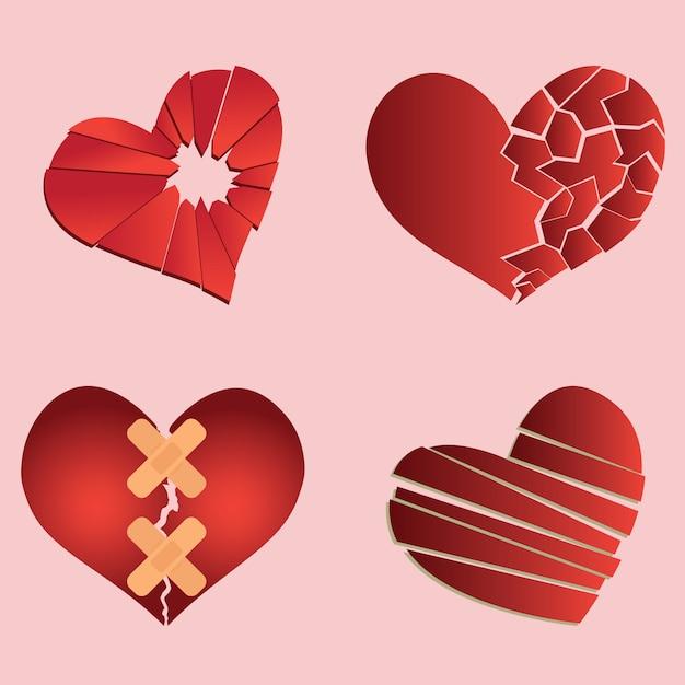 Set of broken heart / heartbreak for broken heart concept Premium Vector