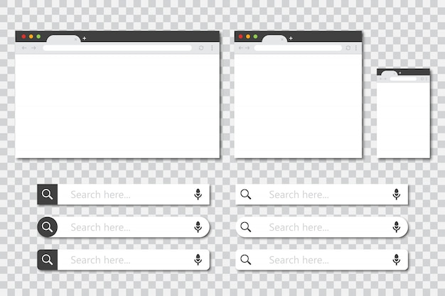 Set of browser windows in different sizes and search bar collection in a flat design with shadow. mockup of browser window Premium Vector