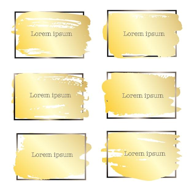 Set of brush stroke frame, gold grunge brush strokes. Premium Vector
