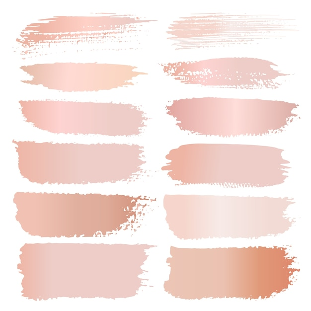 Set of brush stroke, pink gold grunge brush strokes. Premium Vector