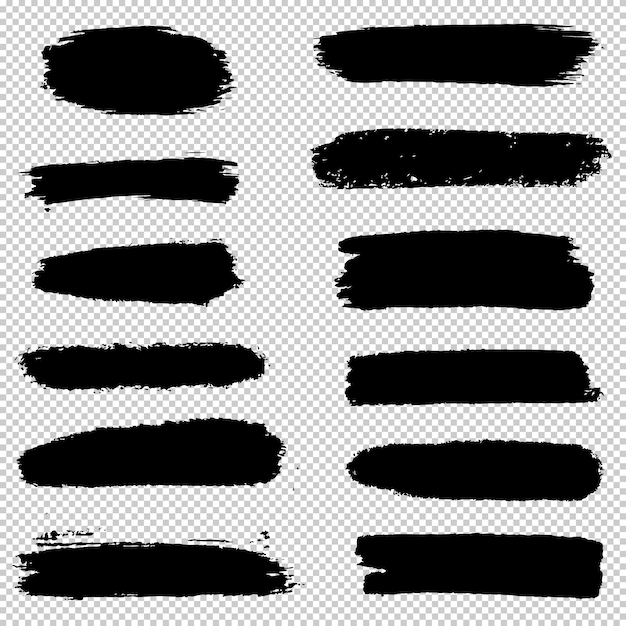 Set of brush strokes.collection of brush hand drawn graphic element. grunge background. Premium Vector