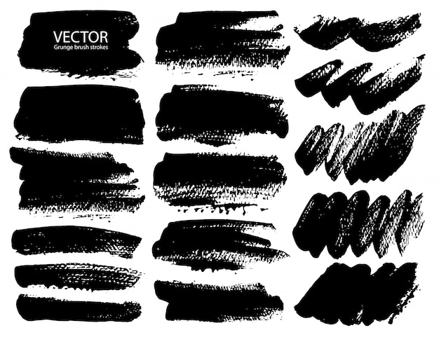 Set of brush strokes Premium Vector
