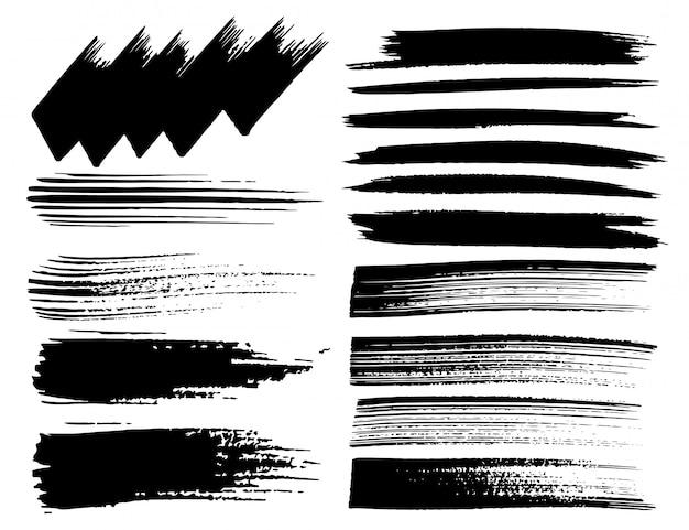 Set of brush strokes Premium Vector