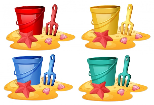 Set of bucket with spade Free Vector