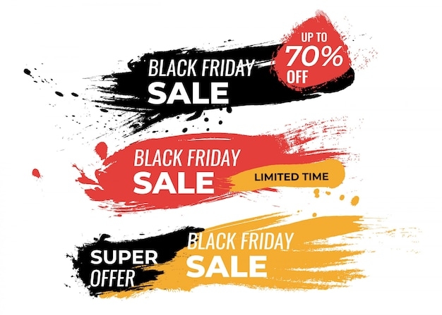 Set of bugdes for black friday painted Free Vector