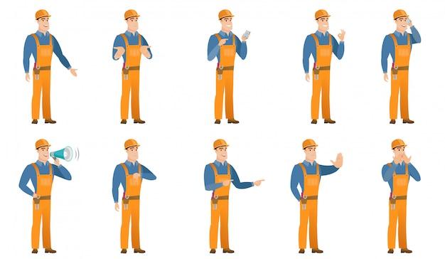 Set of builder characters Premium Vector